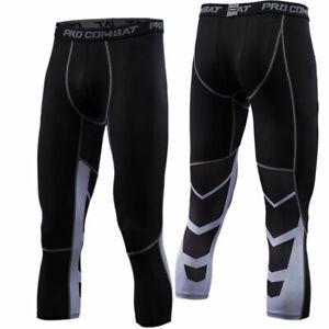 Mens-Sports-3-4-Pants-Compression-Workout-Fitness-Gym-Cropped-Tights-Breathable