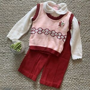 VTG-Red-Pink-Xmas-Holiday-Floral-Knit-Sweater-Pants-Set-Size-18-Months-60s-70s