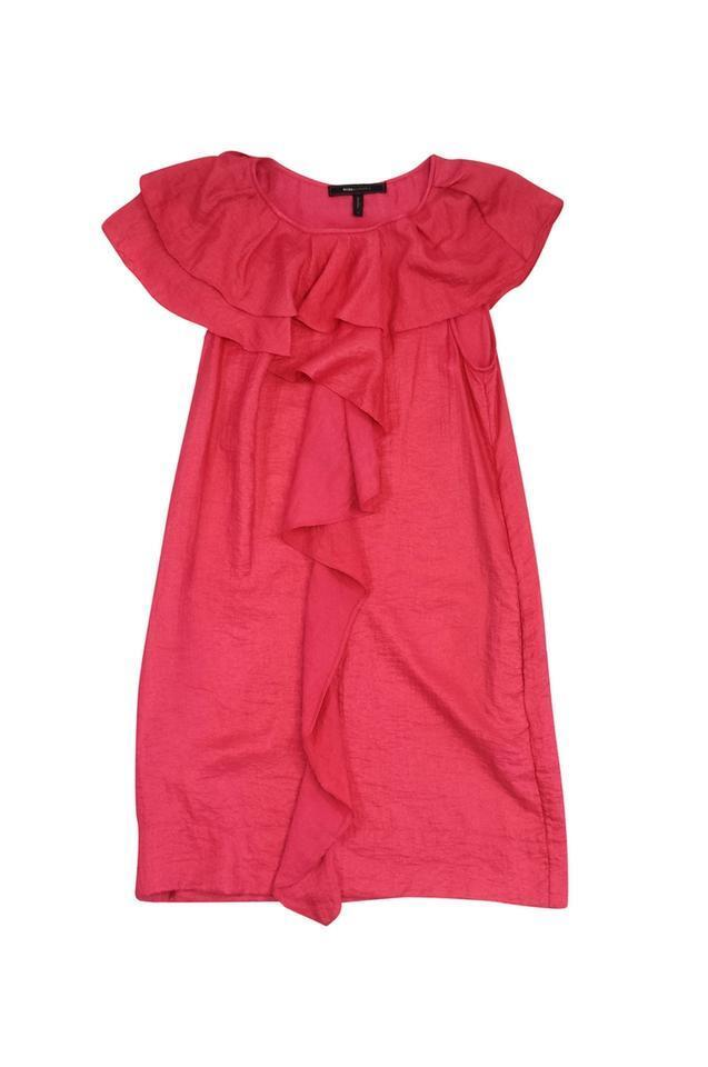BCBG Max Azria- Pink Layered Front Ruffle Dress Sz 4
