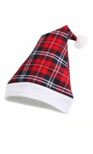 Unisex Tartan Santa Hat In 2 Designs With Band And Bobble New