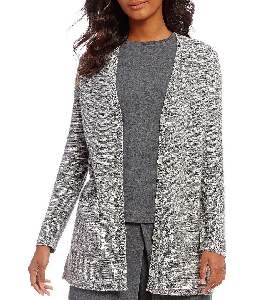 Eileen Fisher Peppered Cotton Wool Boyfriend Cardigan, Ash, Large, NWT