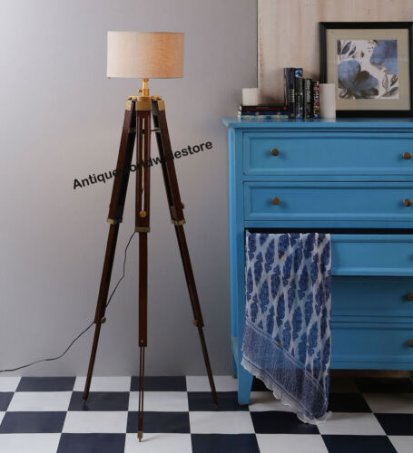 CLASSICAL DESIGNER TRIPOD FLOOR LAMP WOODEN TRIPOD LAMP STAND HOME DECOR