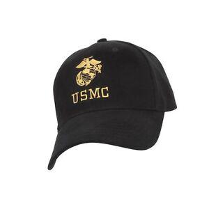 Image is loading Rothco-USMC-G-amp-A-Insignia-Cap-Black- 0ec48eaecd49