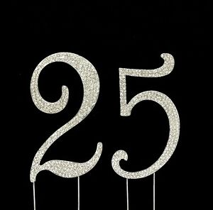 Large 25th Birthday Anniversary Number Cake Topper