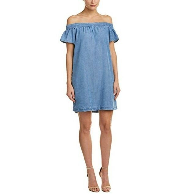 Kut From The Kloth Womens Dress Denim Tencel Shift Off Shoulders Size Small