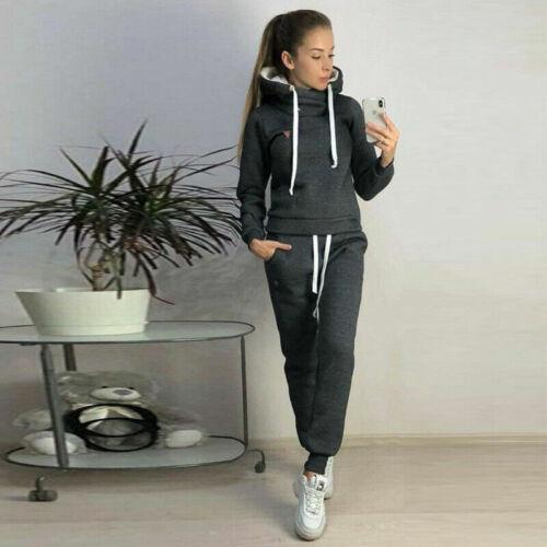 Pants Womens Hooded Joggers Lounge Wear Tracksuit Set Fleece Warm Sports Tops