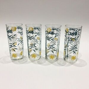 4-Vintage-Slim-Jim-Glasses-Summer-Breeze-Pattern-Ravenhead-A-Hardie-Williamson