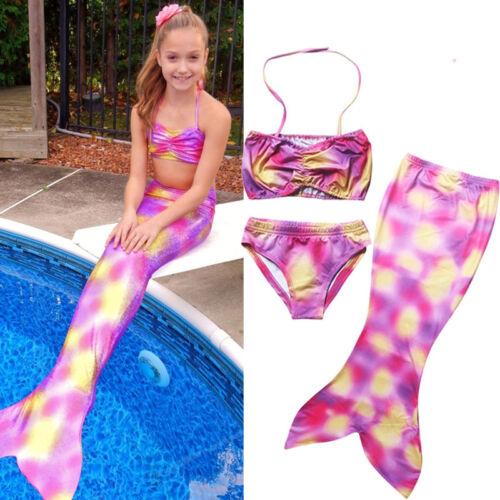 Girls Kids Mermaid Tail Swimmable Bikini Set Swimwear Swimsuit Swimming Costume