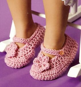 Sweet Floral Childs Mary Janes Slipperscrochet Pattern