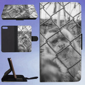 MONKEY-BEHIND-WIRE-MESH-FENCE-FLIP-WALLET-CASE-FOR-APPLE-IPHONE-PHONES