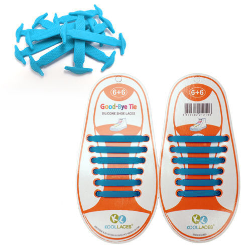 KIDS BLUE Coolnice Pull Lock Anchor Type Silicon Fashion No Tie Shoe Laces 12pcs