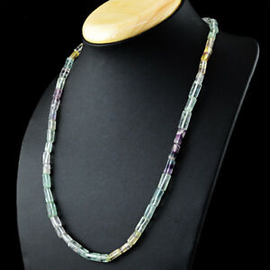 175-50-Cts-Natural-Untreated-Multicolor-Fluorite-Single-Strand-Beads-Necklace