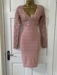 Womens-Ladies-JANE-NORMAN-Mauve-Pink-Sequin-Lace-Plunge-Bodycon-Party-Dress-6