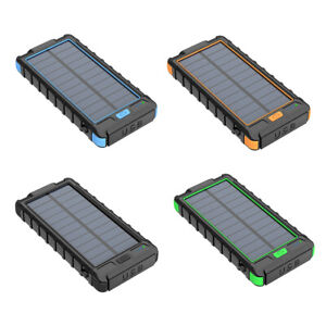 10000mAh Solar Power Bank Cargador de batería de prueba de puerto USB 2