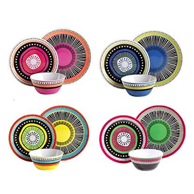 12pc Almira Melamine Dinnerware Plates Bowls Dishes Dinner Kitchen 4set Orted 85081304636 Ebay