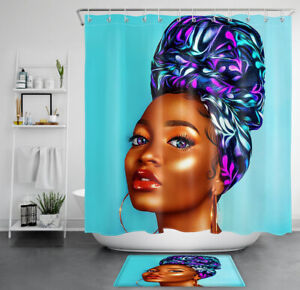Afro African American Queen Shower Curtain Sets Black Girl for Bathroom Decor