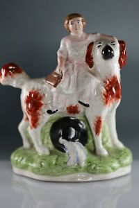 VINTAGE-STAFFORDSHIRE-Girl-and-Spaniel-JAMES-KENT