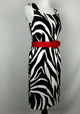 edfc3f6f6e2b0 ALYX Women s Sheath Career Dress Size 8 Black White Animal Print Fitted Red  Belt