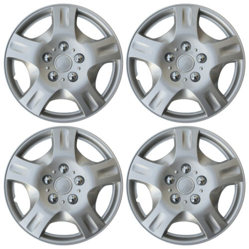 """4 Piece Set 15/"""" Inch Hub Cap Silver Skin Rim Cover for Steel Wheel Covers Caps"""