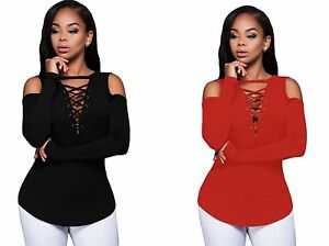 Womens-Ladies-Cut-Out-Cold-Shoulder-Club-Wear-Tunic-Party-Top-Plus-Size-12-18