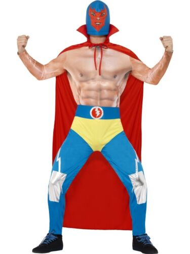Mens Mexican Wrestler Fancy Dress Costume Nacho Outfit New by Smiffys