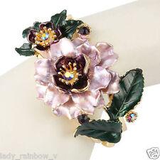 Luxury Flower Bracelet Bangle Rhinestone Crystal Purple w Green Enamel Art Deco