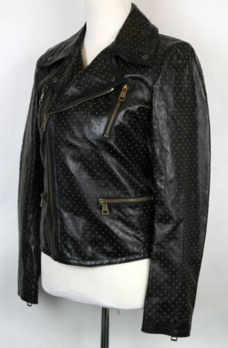 $5650 New Gucci Womens Studded Leather Biker Jacket Blazer Black 340459 1000