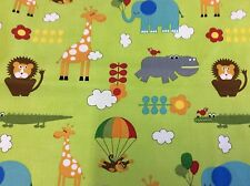 BUNGLE JUNGLE #39501-16 LIME ANIMALS FOR TIM & BECK FOR MODA- BY THE YARD