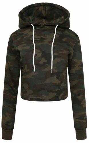 New Women Ladies  Crop Top Hoody Plain Pullover Sweatshirt Hoodies Jumpers XS-L