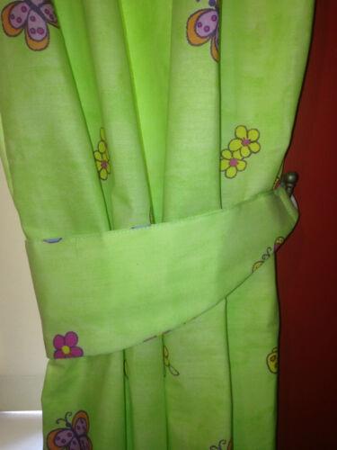 """Les filles Citron Vert Conte Princesse Papillon Chambre Rideaux 168x137cm 66x54 /"""""""