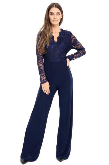Uk Womens Evening Party Playsuit Ladies Lace Long Jumpsuit Plus Size