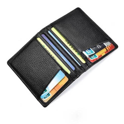 Black Slim Soft Men/'s Wallet Bifold Genuine Leather Mini Credit ID Card Holders