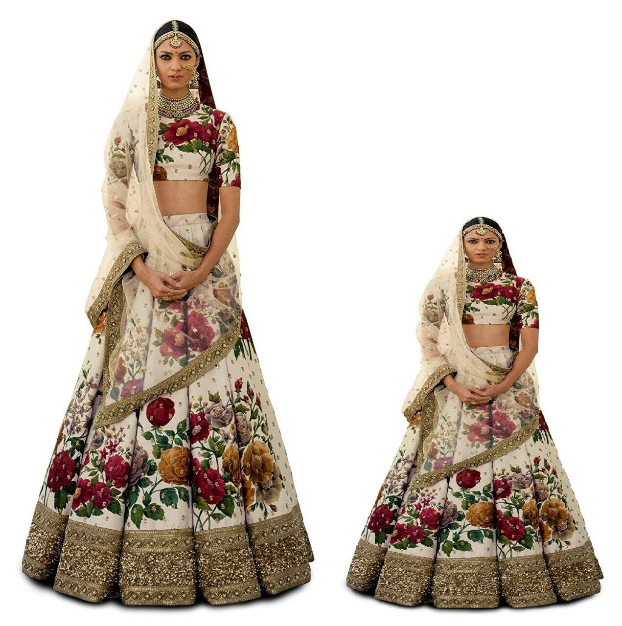Cream Floral Mom Kids Lehenga Choli Wedding Designer Kids Ghagra Lengha Skirt