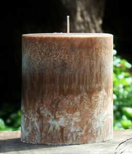 80hr SMOKED WOOD & CEDAR Triple Scented Natural OVAL Pillar Candle FREE SHIPPING