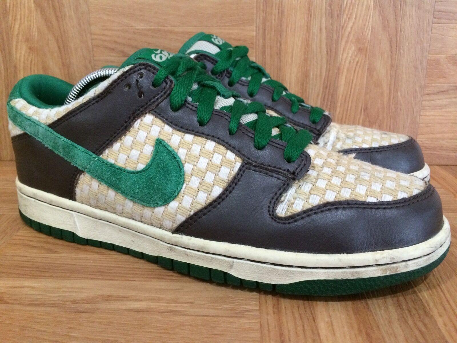 RARE  Nike Dunk Low 6.0 Overcast Pine Green Woven Sz 7.5 314142-331 Hemp Tweed