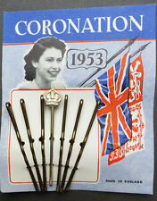 Wonderful 1953 Queen Elizabeth CORONATION Hair Grips with CROWN