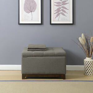 Sensational Details About Elegant Spacious Gray Fabric Storage Ottoman Coffee Table With Tufted Top New Caraccident5 Cool Chair Designs And Ideas Caraccident5Info