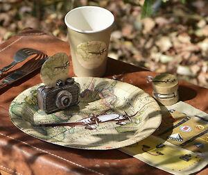 Image is loading Vintage-Travel-Bon-Voyage-World-Atlas-Party-paper- & Vintage Travel Bon Voyage World Atlas Party paper plates cups ...