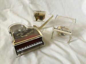 Three-Vintage-Acrylic-Sankyo-Japan-Wind-up-Music-Box-Boxes-Piano-Harp-Organ