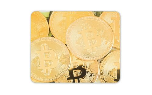 Cryptocurrency Office Cool Computer Gift #12490 Shiny Bitcoin Mouse Mat Pad