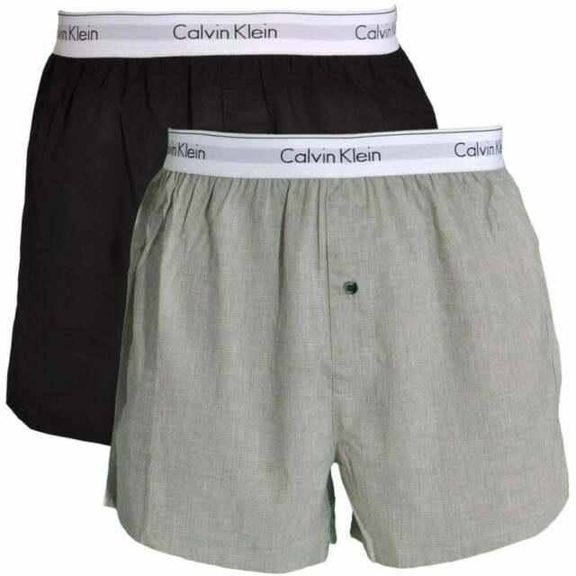 search for genuine 60% cheap outlet store sale Calvin Klein Modern Cotton Slim Fit Woven Boxer 2-Pack, Black / Heather Grey