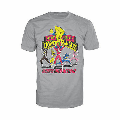 Power Rangers Logo Morph Into Action Official Mens Ladies Heather Grey T-Shirt