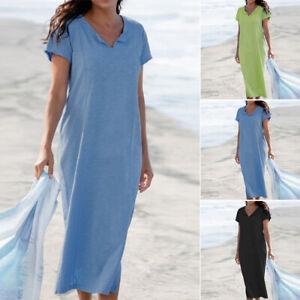 ZANZEA-Damen-V-Neck-Kurzarm-Kleid-Hemdkleid-Bequem-Sommer-Beach-Freizeitkleid
