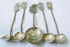 Vintage Sterling Silver 800 twisted handle leaf Siam dancer set of 5 Spoons