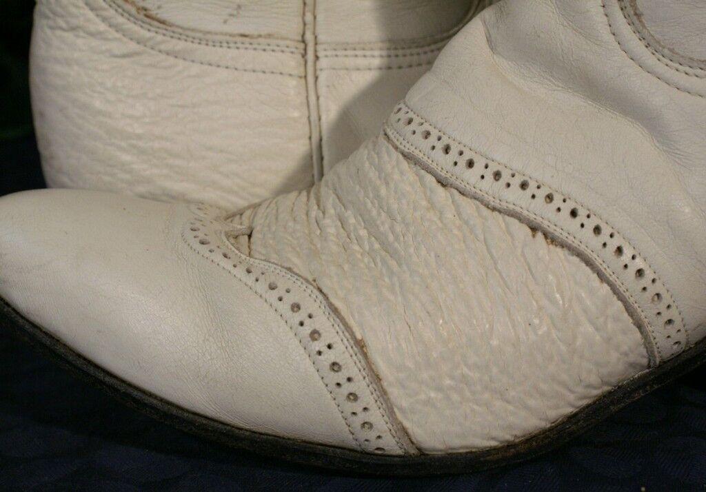 Vintage Tony Lama blancoo De Cuero De De De Tiburones De La Puntera botas 7.5  ventas en linea