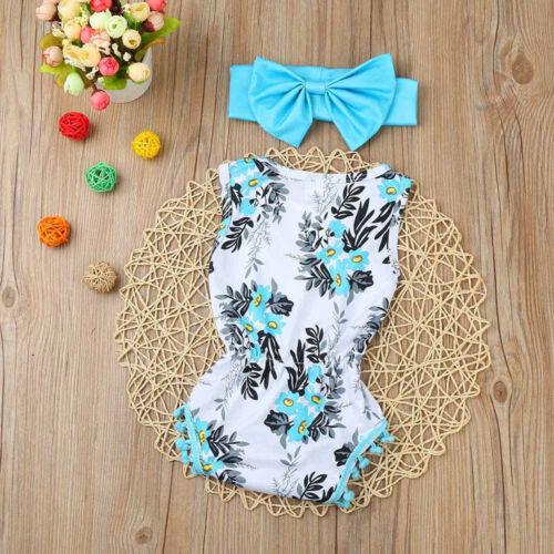 Flower Newborn Baby Girls Summer Sleveeless Tassel Printed Cute Rompers Outfits