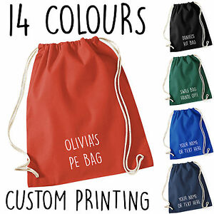 PERSONALISED COTTON DRAWSTRING BAG PE GYM KIT SCHOOL P.E KIDS ...