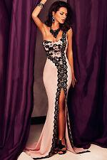 Pink Lace One shoulder Long Dress Club Wear Fashion Evening Wear Size S M L