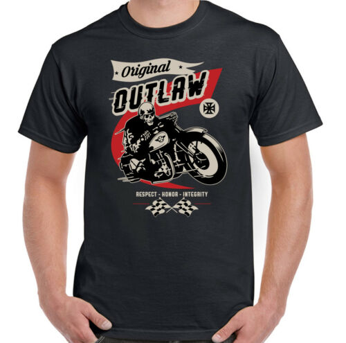 Original Outlaw Mens Biker T-Shirt Motorbike Motorcycle Bike Indian Cafe Racer