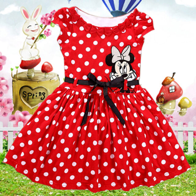 2016 Summer Toddler Baby Girls Kids Princess Party Mickey Dress Dot Dresses 1-7Y